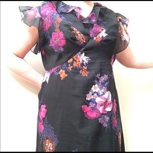 Vintage plus size floral cottagecore maxi dress